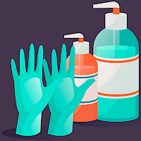 latex-free gloves and hand sanitizers
